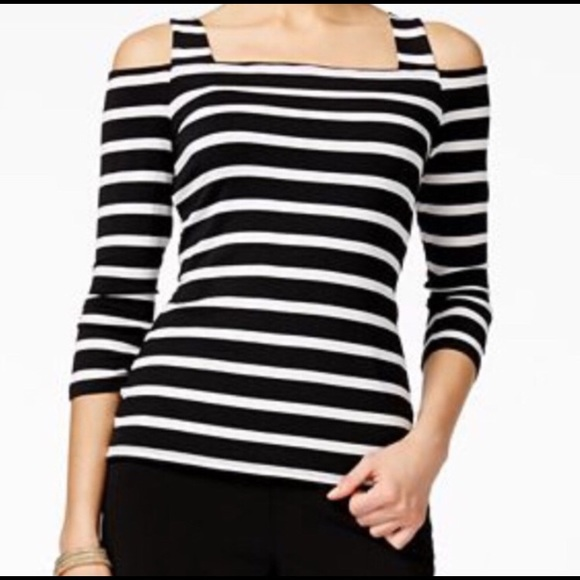 4e6e52074a7e8 INC Black and White Stripe Cold Shoulder Top